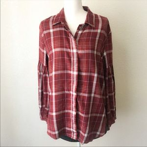 Treasure & Bond Rusty Long Sleeve Plaid Shirt Sz M